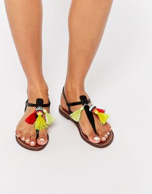 Sam Edelman Черные сандалии с перемычкой отделкой кисточками Garsem. Цвет: черный