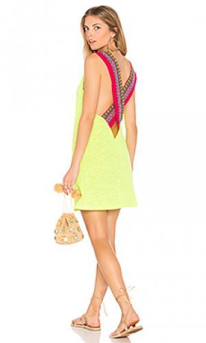 Платье с перекрестными шлейками сзади Pitusa. Цвет: желтый
