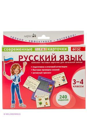 Карточки. Русский язык. 3-4 классы АЙРИС-пресс. Цвет: красный, белый