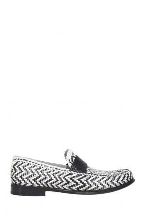 Кожаные лоферы Dolce&Gabbana. Цвет: черно-белый