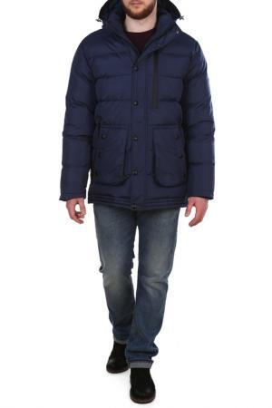 Полуприлегающая куртка с четырьмя карманами XASKA. Цвет: синий