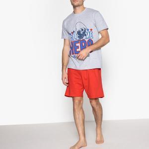 Пижама с шортами рисунком CALIMERO. Цвет: серый меланж/красный