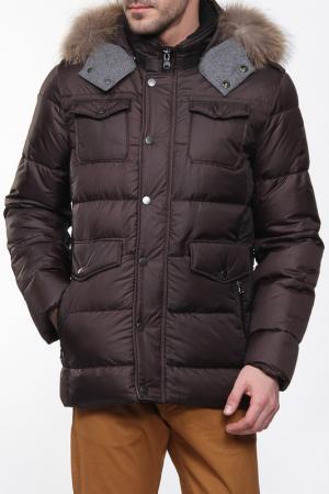 Куртка с капюшоном на меху Otto Kern. Цвет: коричневый