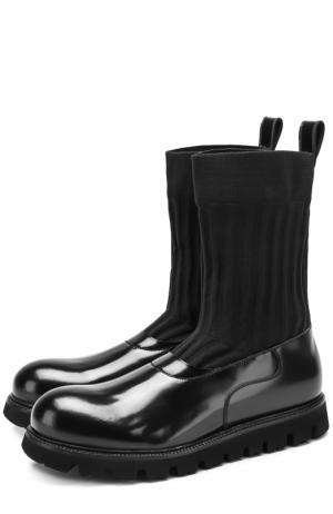 Кожаные сапоги с текстильным голенищем Rocco P.. Цвет: черный