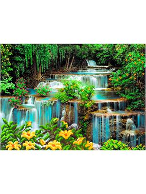 Рисунок на шелке Водопад Матренин Посад. Цвет: белый, желтый, зеленый, красный