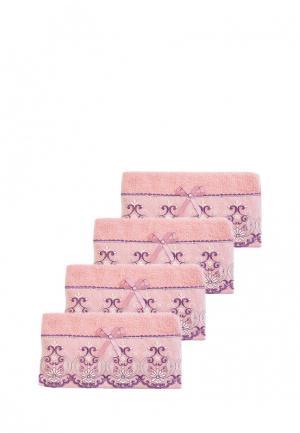 Комплект полотенец 4 шт. La Pastel. Цвет: розовый