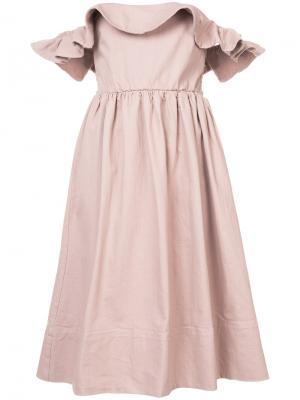 Платье с открытыми плечами Apiece Apart. Цвет: розовый и фиолетовый