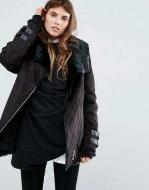 Goosecraft Удлиненная байкерская куртка с воротником и подкладкой из искусственно. Цвет: черный