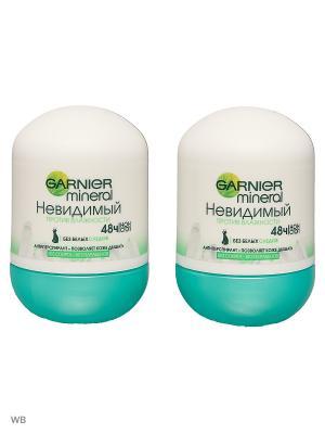 Дезодорант шариковый Mineral, Против влажности, невидимый, защита 48ч, женский, 2х50 мл Garnier. Цвет: белый