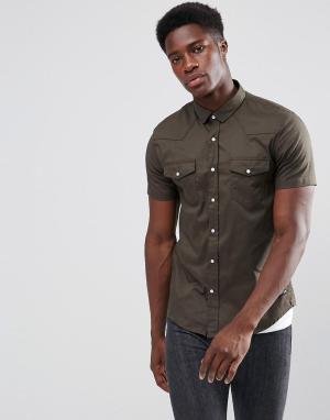 Brave Soul Рубашка с короткими рукавами и двумя карманами. Цвет: зеленый