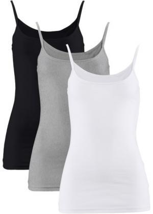 Трикотажный топ (3 штуки в упаковке) (белый + черный светло-серый меланж) bonprix. Цвет: белый + черный + светло-серый меланж