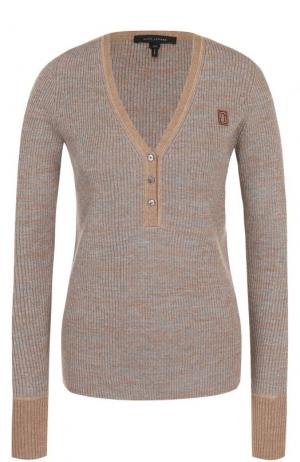 Шерстяной пуловер с V-образным вырезом Marc Jacobs. Цвет: серый