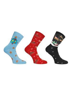 Носки, 3 пары Master Socks. Цвет: лазурный, красный, черный