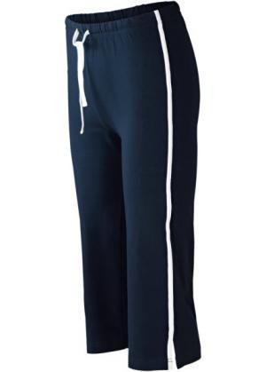 Спортивные брюки капри с эффектом стретч (темно-синий) bonprix. Цвет: темно-синий