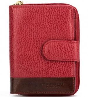 Кожаный кошелек с двумя отделами для купюр The Bridge. Цвет: бордовый