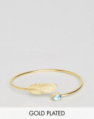 Ottoman Hands Браслет-манжета с пером и камнем. Цвет: золотой