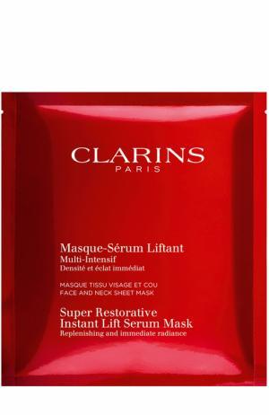 Восстанавливающая тканевая маска для лица и шеи с эффектом лифтинга Multi-Intensif Clarins. Цвет: бесцветный