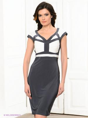 Платье BIRRIN. Цвет: темно-серый, белый