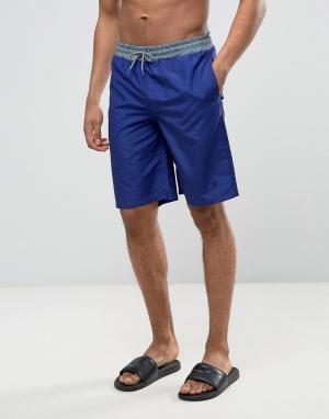 Wetts Пляжные шорты с контрастным поясом. Цвет: темно-синий