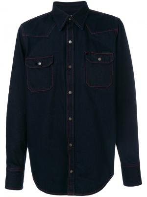 Джинсовая рубашка с контрастной строчкой Calvin Klein 205W39nyc. Цвет: синий