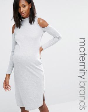 Missguided Maternity Платье миди для беременных с вырезами на плечах. Цвет: серый