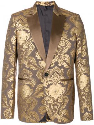 Жаккардовый пиджак с цветочным принтом Christian Pellizzari. Цвет: коричневый