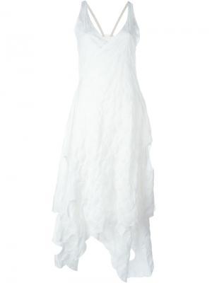 Асимметричное платье с V-образным вырезом Area Di Barbara Bologna. Цвет: белый