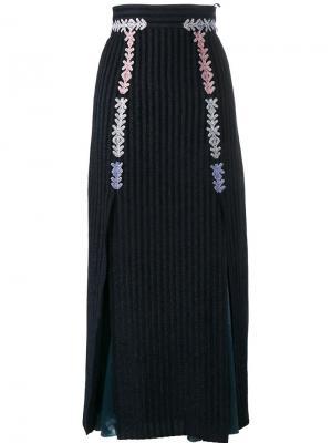 Бархатная полосатая юбка миди Peter Pilotto. Цвет: синий