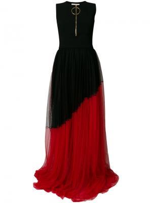 Асимметричное плиссированное платье Fausto Puglisi. Цвет: чёрный