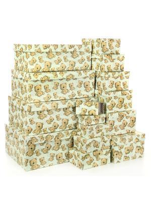 Набор из 15 картонных коробок 12*6,5*4-46,6*33*18см, Плюшевый улыбака VELD-CO. Цвет: салатовый, светло-коричневый