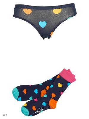 Комплект белья Happy Socks. Цвет: темно-синий, голубой, оранжевый