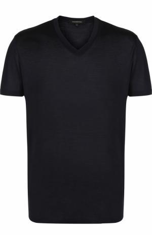Шелковая футболка с V-образным вырезом Ermenegildo Zegna. Цвет: темно-синий
