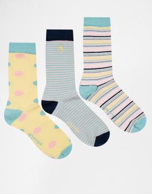 Penguin Набор из 3 пар женских носков в пастельную полоску. Цвет: мульти
