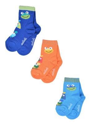 Носки Детские,комплект 3шт Malerba. Цвет: синий, голубой, оранжевый