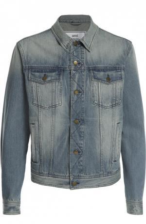 Куртка джинсовая Ami. Цвет: голубой