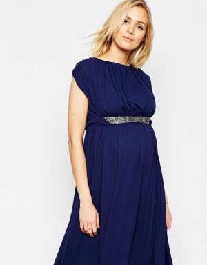 ASOS Maternity Платье миди для беременных с декоративной отделкой. Цвет: темно-синий