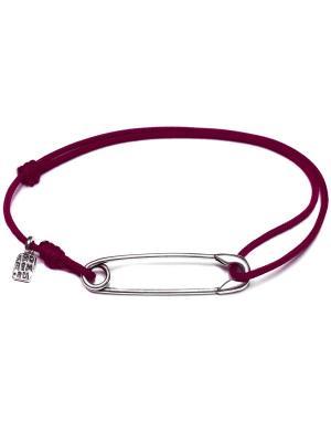 Булавка браслет Amorem. Цвет: бордовый, серебристый