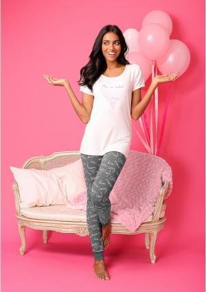 Пижамные брюки VIVANCE. Цвет: розовый надписи