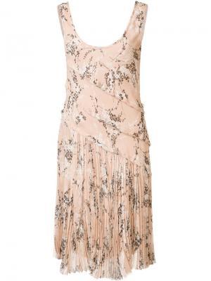 Плиссированное платье с цветочным рисунком Jason Wu. Цвет: телесный