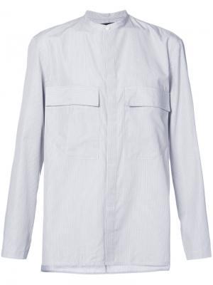 Полосатая рубашка с узким воротом и карманами Siki Im. Цвет: белый