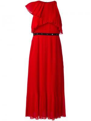 Плиссированное платье Giamba. Цвет: красный