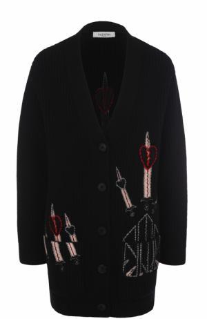 Удлиненный кардиган с контрастной вышивкой Valentino. Цвет: черный