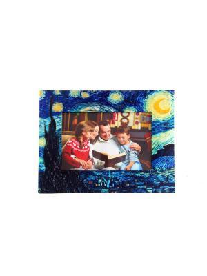 Фоторамка Звездная ночь для фото 18*13см, 25*19см Русские подарки. Цвет: темно-синий, синий, светло-зеленый, голубой, оранжевый, желтый