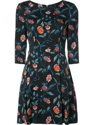 Расклешенное платье с цветочным узором Suno. Цвет: чёрный