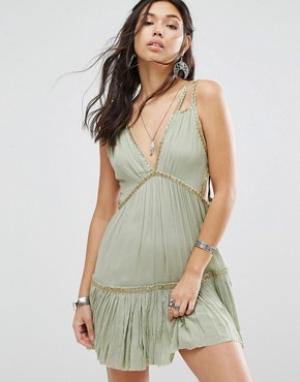 Free People Платье мини Shine Marisol. Цвет: зеленый