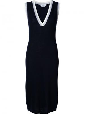 Трикотажное платье с V-образным вырезом Gabriela Hearst. Цвет: синий