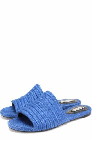 Плетеные сабо из текстиля Balenciaga. Цвет: синий