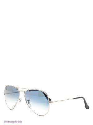 Очки солнцезащитные AVIATOR LARGE METAL Ray Ban. Цвет: серебристый, синий
