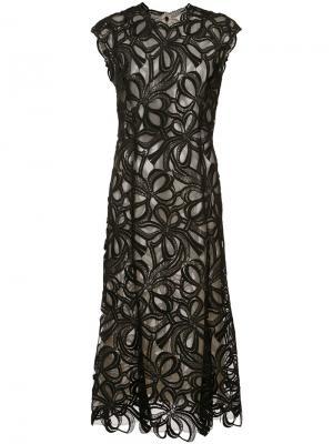 Кружевное гипюровое платье Monique Lhuillier. Цвет: чёрный