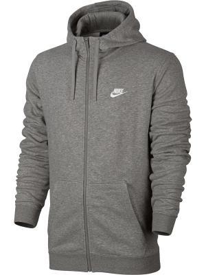 Толстовка M NSW HOODIE FZ FT CLUB Nike. Цвет: серый, белый